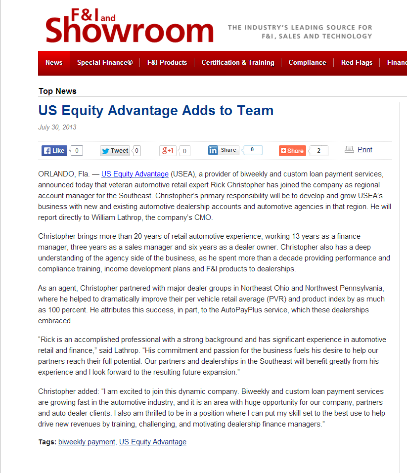 US Equity Advantage Adds to Team   News   F I and Showroom 073013